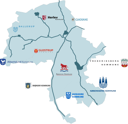 Harrestrup Å, med involverede kommuner: Albertslund, Ballerup, Brøndby, Frederiksberg, Gladsaxe, Glostrup, Herlev, Hvidovre og Københavns Kommune.